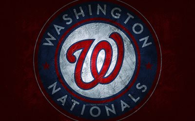 Washington Nationals, American baseball team, red stone background, Washington Nationals logo, grunge art, MLB, baseball, USA, Washington Nationals emblem