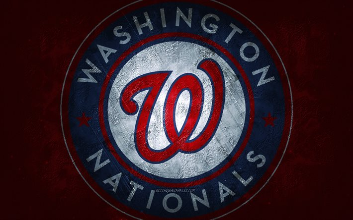 Washington Nationals, Amerikan beyzbol takımı, kırmızı taş arka plan, Washington Nationals logosu, grunge sanat, MLB, beyzbol, ABD, Washington Nationals amblemi