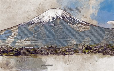 Mount Fuji, grunge art, Fujisan, creative art, grunge, mountain landscape, volcano, Japan