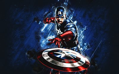 Captain America, superhero, blue stone background, creative art, Captain America character
