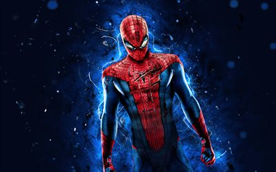 Spiderman, 4k, siniset neonvalot, supersankarit, Marvel Comics, Spider-Man, luova, Spiderman 4K