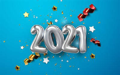 2021 New Year, 4k, silver balloons, Happy New Year 2021, 2021 blue background, 2021 silver balloons background, 2021 concepts