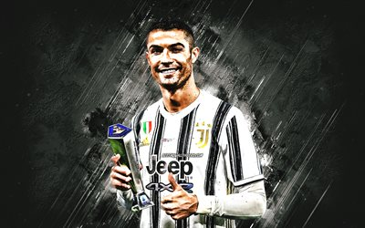 Cristiano Ronaldo, portrait, Serie A awards, Juventus FC, Portuguese footballer, Italy, football, white stone background