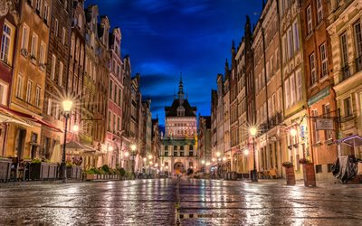 Gdansk, Golden Gate, evening, sunset, street, Gdansk cityscape, Poland