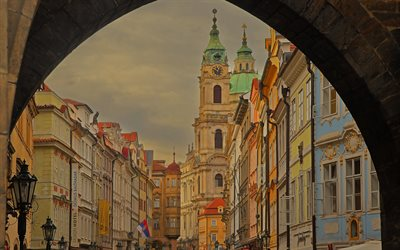 Mala Strana, Prague, evening, chapel, old buildings, Prague cityscape, Czech Republic