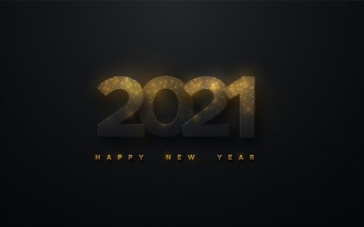 2021 New Year, black background with golden letters, Happy New Year 2021, 2021 concepts, 2021 luxury background