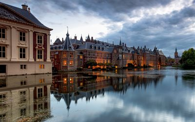 The Hague, 4k, evening, cityscapes, Netherlands, dutch cities, Europe, Hague in evening