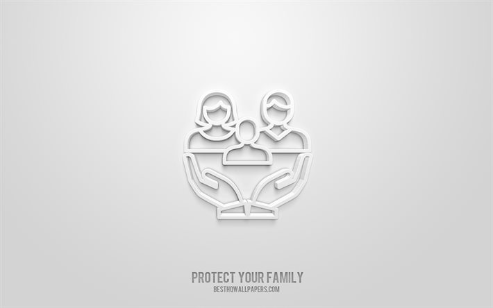 Protect your family 3d icon, white background, 3d symbols, Protect your family, Family icons, 3d icons, Protect your family sign, Family 3d icons