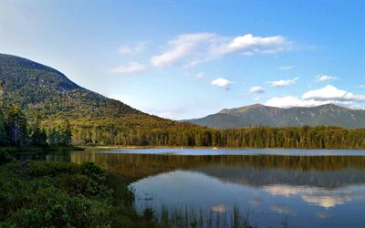 Lonesome Lake, 4k, mountains, sunrise, morning, beautiful lake, New Hampshire, USA