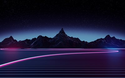 neon light, 4k, nightscapes, mountains
