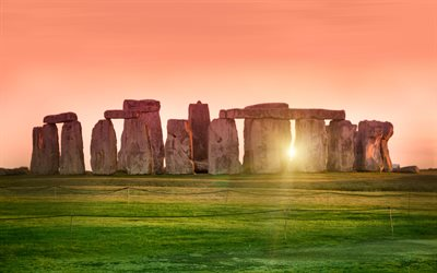 Stonehenge, 4k, sunset, english landmarks, England, UK