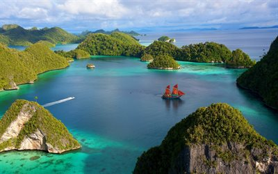 tropical islands, ocean, sea, sailboat, travel concepts, Thailand