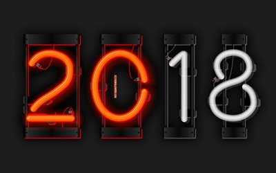 2018 year, neon digits, 4k, art, metal background, 2018, New Year 2018, metal grid, creative