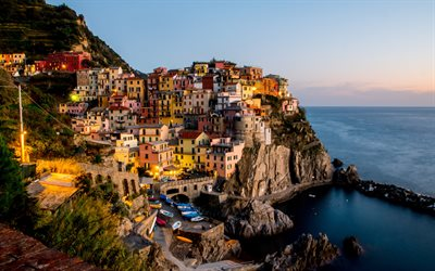 Manarola, morning, mediterranean sea, coast, seascape, sunrise, Liguria, Italy, Riomaggiore, La Spezia
