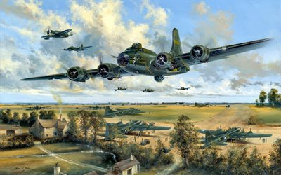 Boeing B-17 Flying Fortress, B-17, Republic P-47 Thunderbolt, military aircraft, World War II
