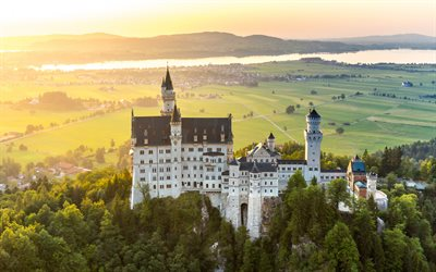 Neuschwanstein Castle, romantic castle, landmark, autumn, ancient castles, Bavaria, Germany