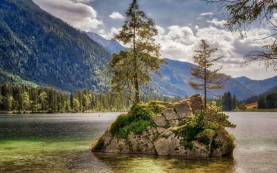 mountain lake, island, trees, Alps, mountain landscape, forest