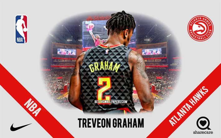 Treveon Graham, Atlanta Hawks, American Basketball Player, NBA, portrait, USA, basketball, State Farm Arena, Atlanta Hawks logo