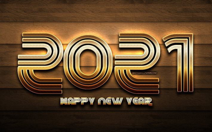 4k, 2021 new year, brown wooden background, 2021 golden glitter digits, 2021 concepts, 2021 year digits, 2021 on wooden background, Happy New Year 2021
