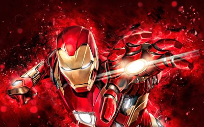 IronMan, 4k, red neon lights, superheroes, Marvel Comics, IronMan 4K, Cartoon Iron Man