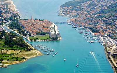 Trogir, summer, resort, aerial view, resorts of Croatia, Trogir cityscape, Croatia
