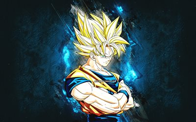 Golden Goku, blue stone background, Vegito, Goku SSJ3, Goku Super Saiyan 3, Dragon Ball Super, grunge art, DBZ, Japanese manga