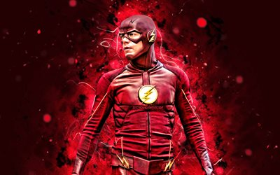The Flash, 4k, luci al neon rosse, supereroi, Marvel Comics, The Flash 4K, Flash
