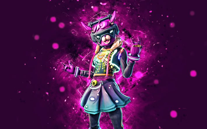 Dj Bop, 4k, luces de neón violetas, juegos 2020, Fortnite Battle Royale, personajes de Fortnite, Dj Bop Skin, Fortnite, Dj Bop Fortnite