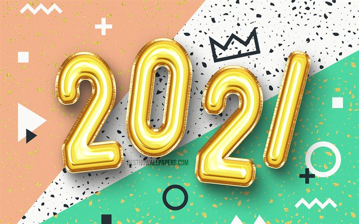 Download Wallpapers 4k Happy New Year 2021 Golden Balloons Digits 2021 Concepts 2021 Year Digits 2021 New Year 2021 On Colorful Background 2021 New Year For Desktop Free Pictures For Desktop Free