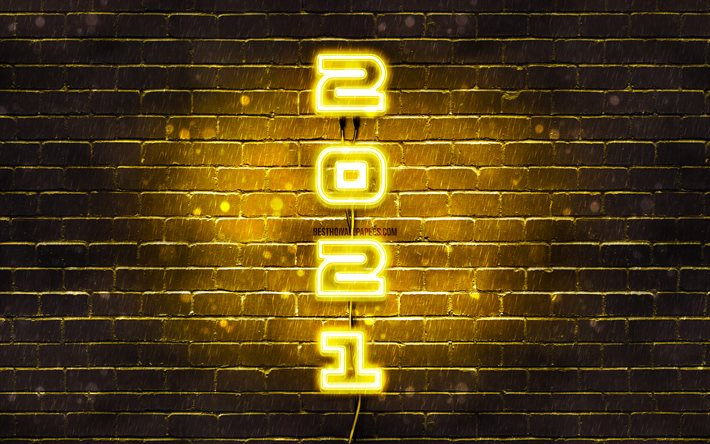 Happy New Year 2021, yellow neon digits, 4k, yellow brickwall, 2021 yellow digits, 2021 concepts, 2021 new year, vertical neon inscription, 2021 on yellow background, 2021 year digits
