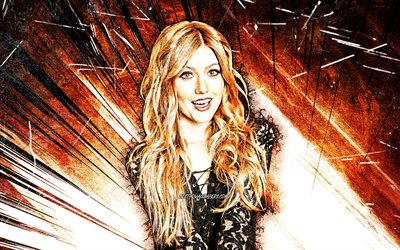 4k, Katherine Mcnamara, grunge art, Hollywood, american celebrity, movie stars, orange abstract rays, Katherine Grace McNamara, fan art, Kat Mcnamara, american actress, Katherine Mcnamara 4K