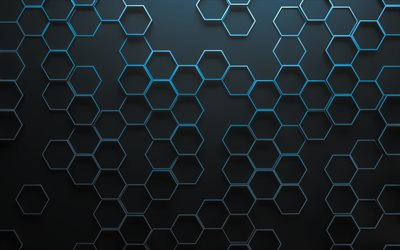 blue linear hexagons, 4k, hexagons 3D texture, honeycomb, hexagons patterns, hexagons textures, 3D textures, gray backgrounds, 3D hexagons