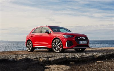 2020, Audi RS Q3, front view, exterior, red crossover, new red RS Q3, german cars, Audi