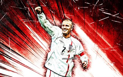 4k, David Beckham, grunge art, football stars, english footballers, David Robert Joseph Beckham, soccer, England national football team, red abstract rays, football legends, David Beckham 4K