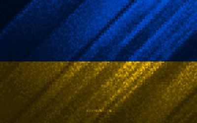 Flag of Ukraine, multicolored abstraction, Ukraine mosaic flag, Ukraine, mosaic art, Ukraine flag
