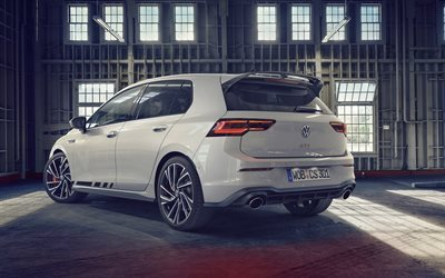 Volkswagen Golf GTI Clubsport, 2021, exterior, rear view, white hatchback, tuning Golf, new white Golf, german cars, Volkswagen