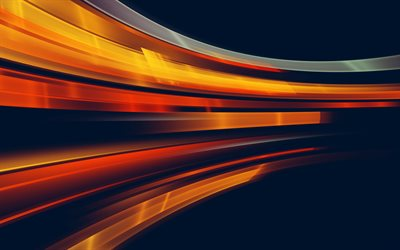 orange abstract lines, 4k, artwork, gray backgrounds, motion concepts, abstract rays