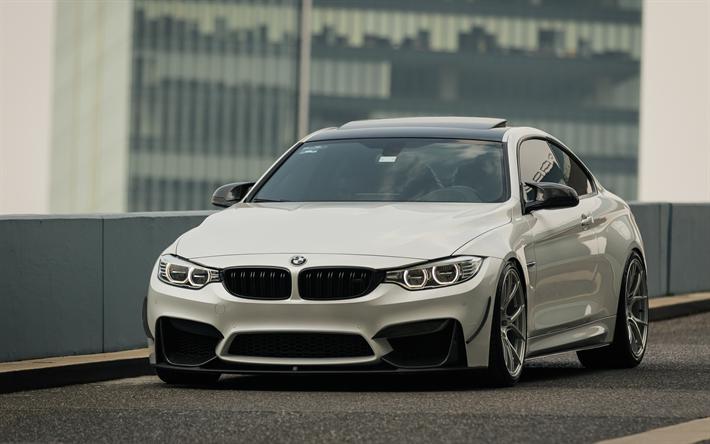 Herunterladen Hintergrundbild Bmw M4 2017 4k Weiß Sport Coupé
