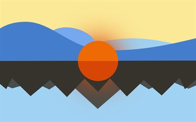 mountains, lake, sun, minimal, art, abstract landscape