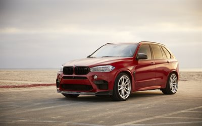 BMW X5M, F85, tuning x5, red X5, low profile tires, German SUV, BMW