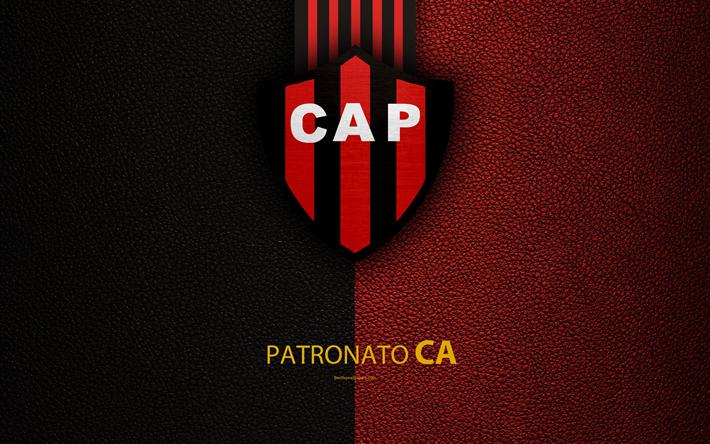 Descargar fondos de pantalla Club Atlético Patronato, 4k, logotipo, Paraná,  Argentina, textura de cuero, el fútbol, el Argentino de clubes de fútbol,  Patronato FC, el emblema, la Superliga, Argentina Campeonatos de Fútbol,