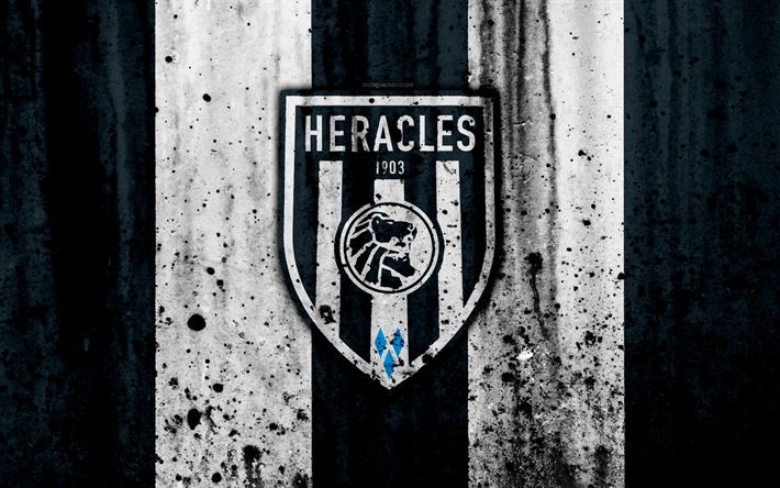 Download wallpapers FC Heracles, 4k, Eredivisie, grunge, logo, soccer, football club ...