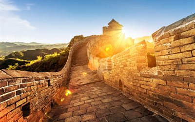 Great Wall of China, Monument, wonder of the world, architectural monument, China, mountains, sunset