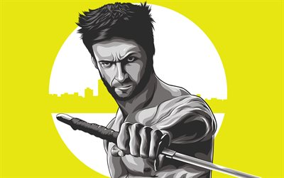 4k, Logan, yellow background, sword, superheroes, James Howlett, Wolverine, minimal, X-Men, Marvel Comics
