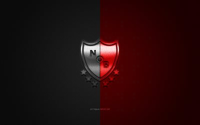 Newells Old Boys, Argentinean football club, Argentine Primera Division, black and red logo, black and red carbon fiber background, football, Rosario, Argentina, Newells Old Boys logo