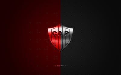 Club Atletico Patronato, Argentinean football club, Argentine Primera Division, black and red logo, black and red carbon fiber background, football, Parana, Argentina, CA Patronato logo