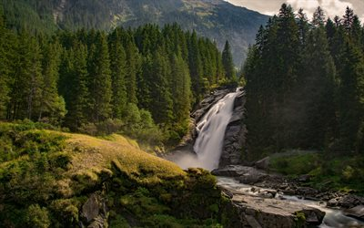 waterfall, forest, green trees, mountain river, beautiful waterfall