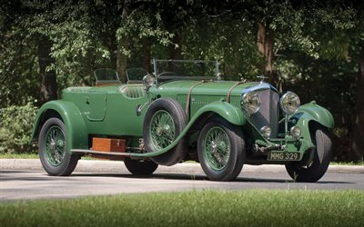 1931, Bentley 4, retro cars, green convertible, green, british cars, Bentley