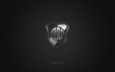 River Plate, Argentinean football club, Argentine Primera Division, silver logo, gray carbon fiber background, football, Buenos Aires, Argentina, River Plate logo