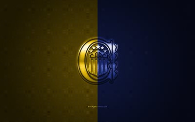 Rosario Central, Argentinean football club, Argentine Primera Division, yellow blue logo, yellow blue carbon fiber background, football, Rosario, Argentina, Rosario Central logo